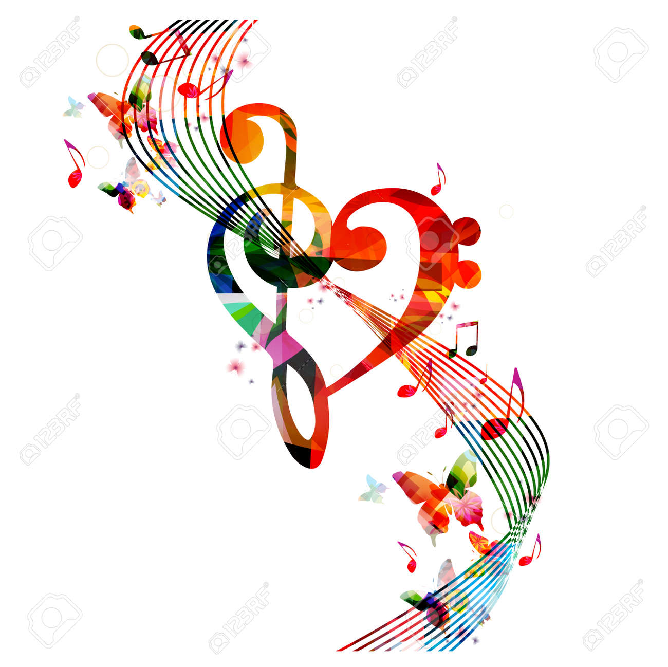 Colorful G-clef heart with music notes and butterflies - 60982717