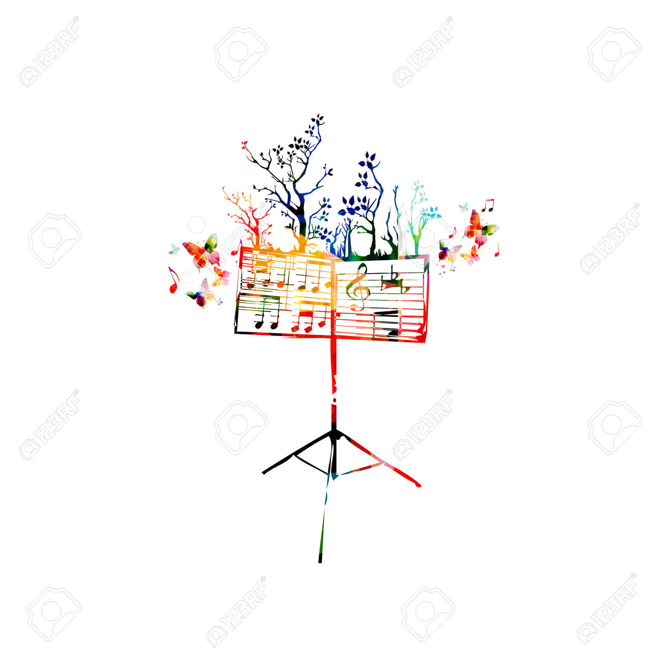 Colorful music background with music stand and butterflies - 61586112