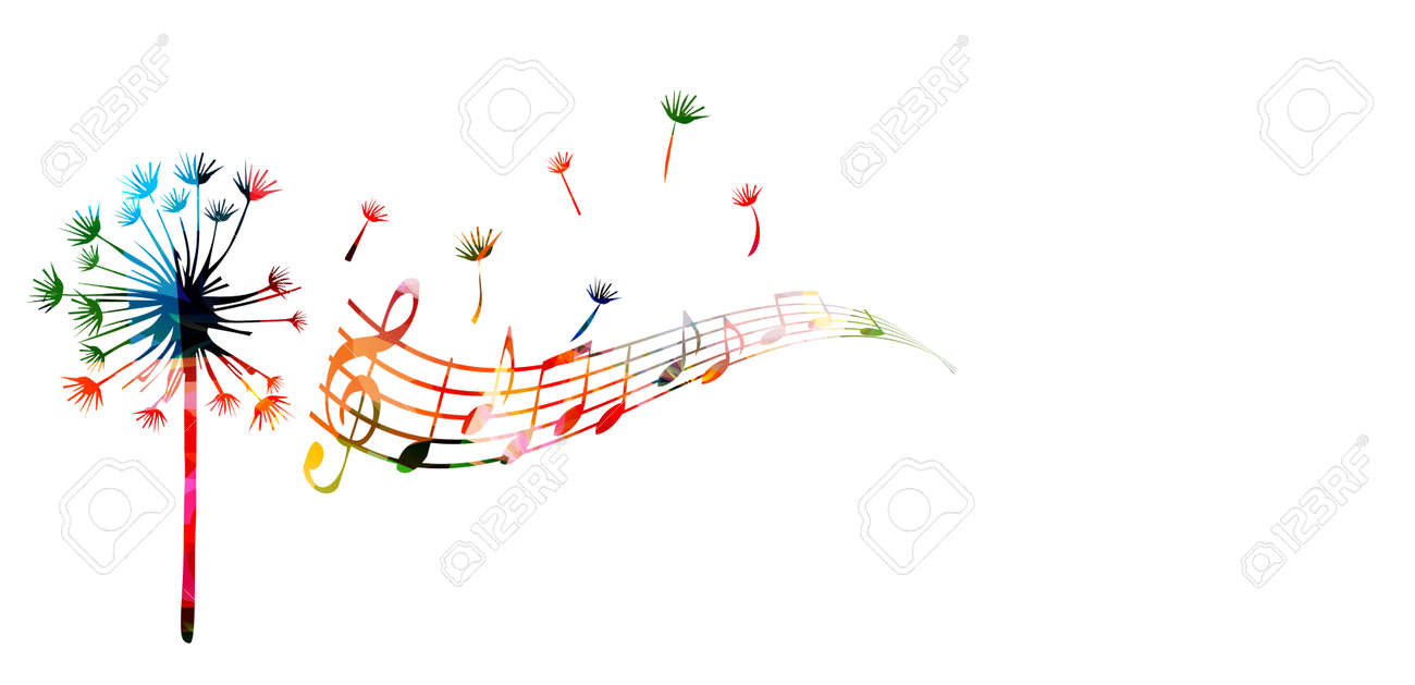 Colorful dandelion with music notes - 61586132