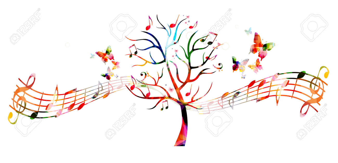 Colorful music tree with music notes and butterflies - 61586149