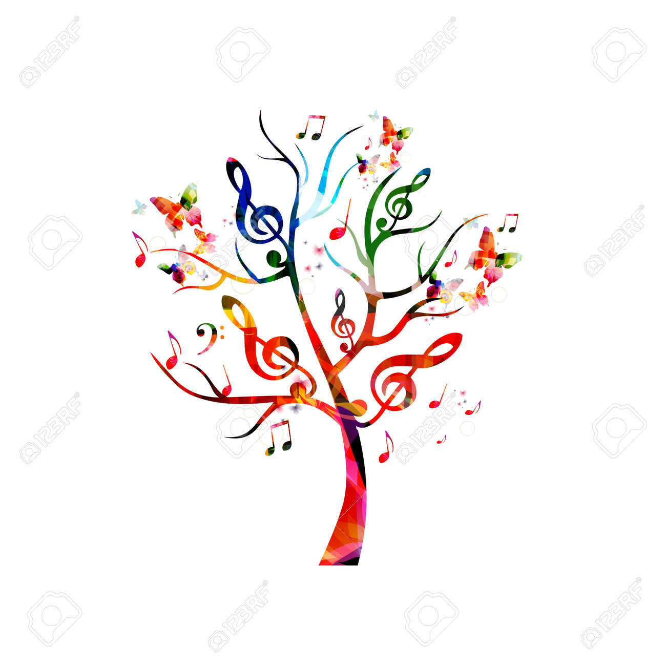 Colorful music tree with music notes and butterflies - 61586150