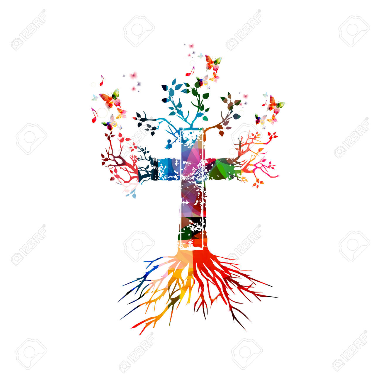 Vector illustration of colorful cross with butterflies - 61588031