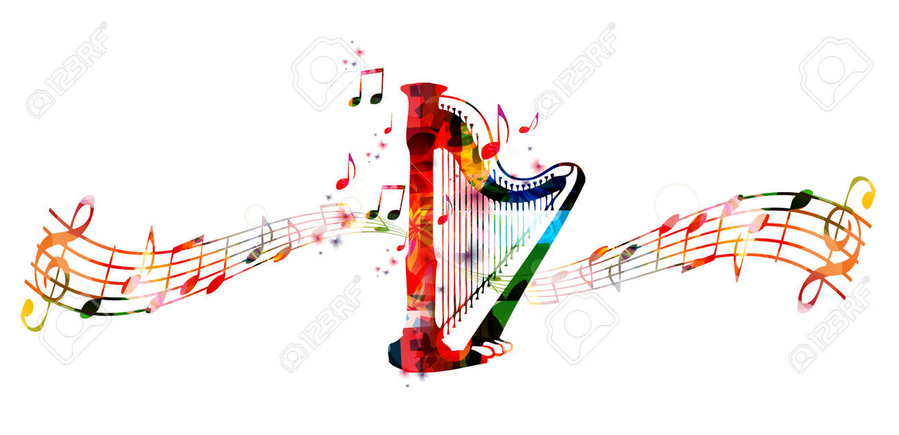 Creative music style template vector illustration, colorful concert harp, music instrument with music staff and notes background. Design for poster, brochure, concert, music festival, music shop - 62621077