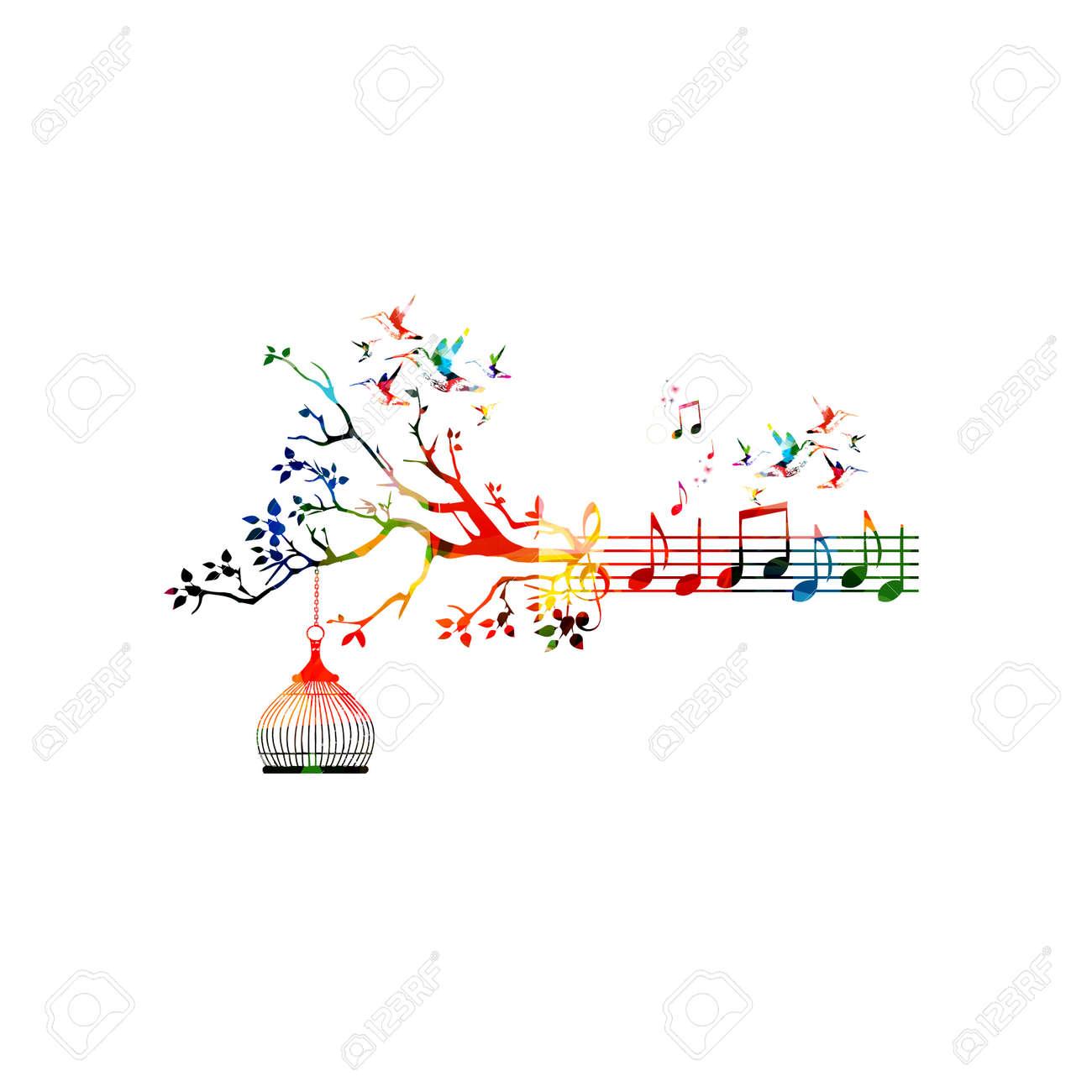 Vecteur Modele Creative Style De Musique Illustration Le Personnel De La Musique Coloree Avec Des Notes De Fond Conception De Notation Inspiree Pour