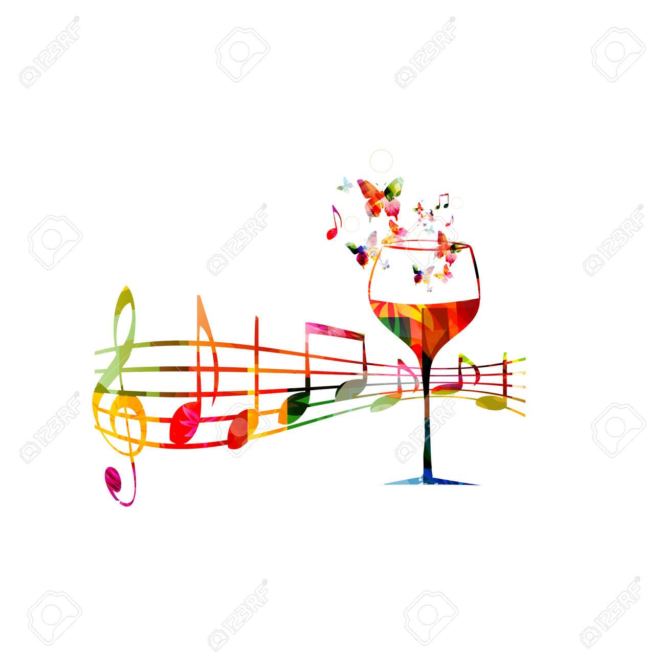 Vecteur modèle Creative style de musique illustration, coloré verre de vin avec le personnel de la musique et les notes, événement vin fond,