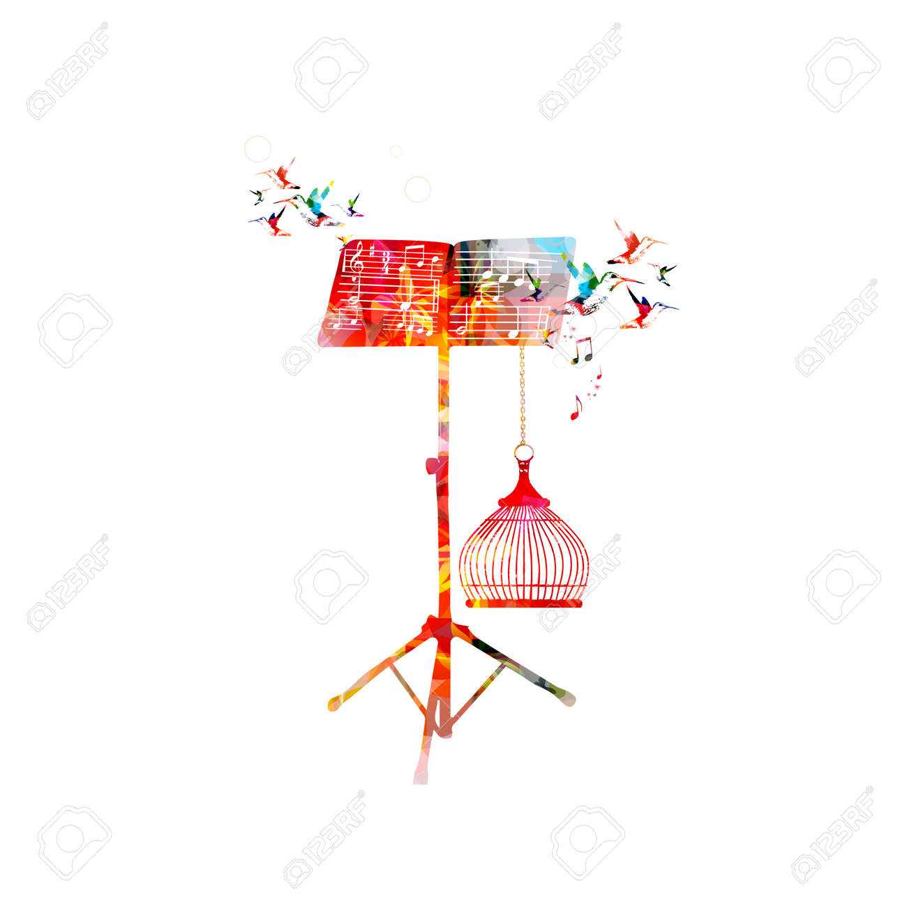 Creative Music Style Template Vector Illustration, Colorful Music ...