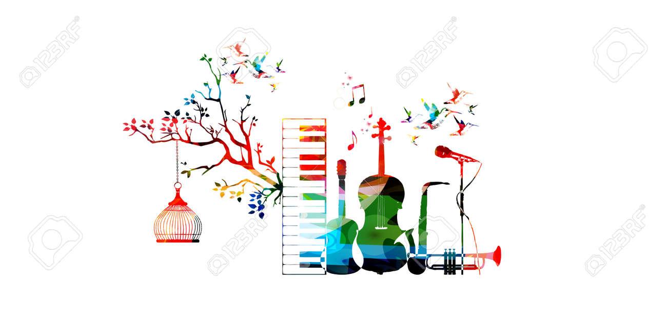 Música De Estilo Plantilla Ilustración Vectorial, Instrumentos ...