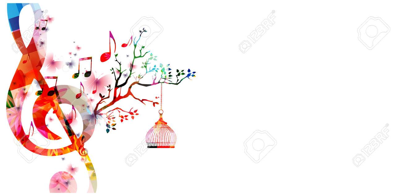 Ilustración Vectorial Plantilla Creativa Estilo De Música, Colorido ...