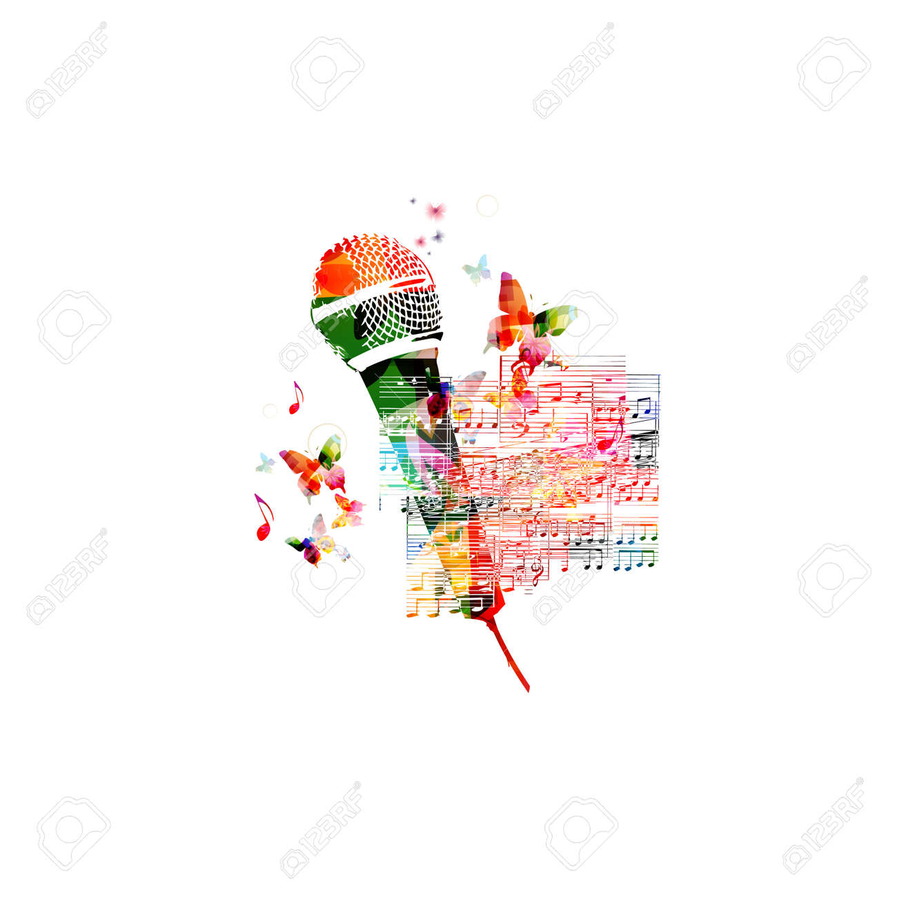 Creative Music Style Template Vector Illustration, Colorful ...