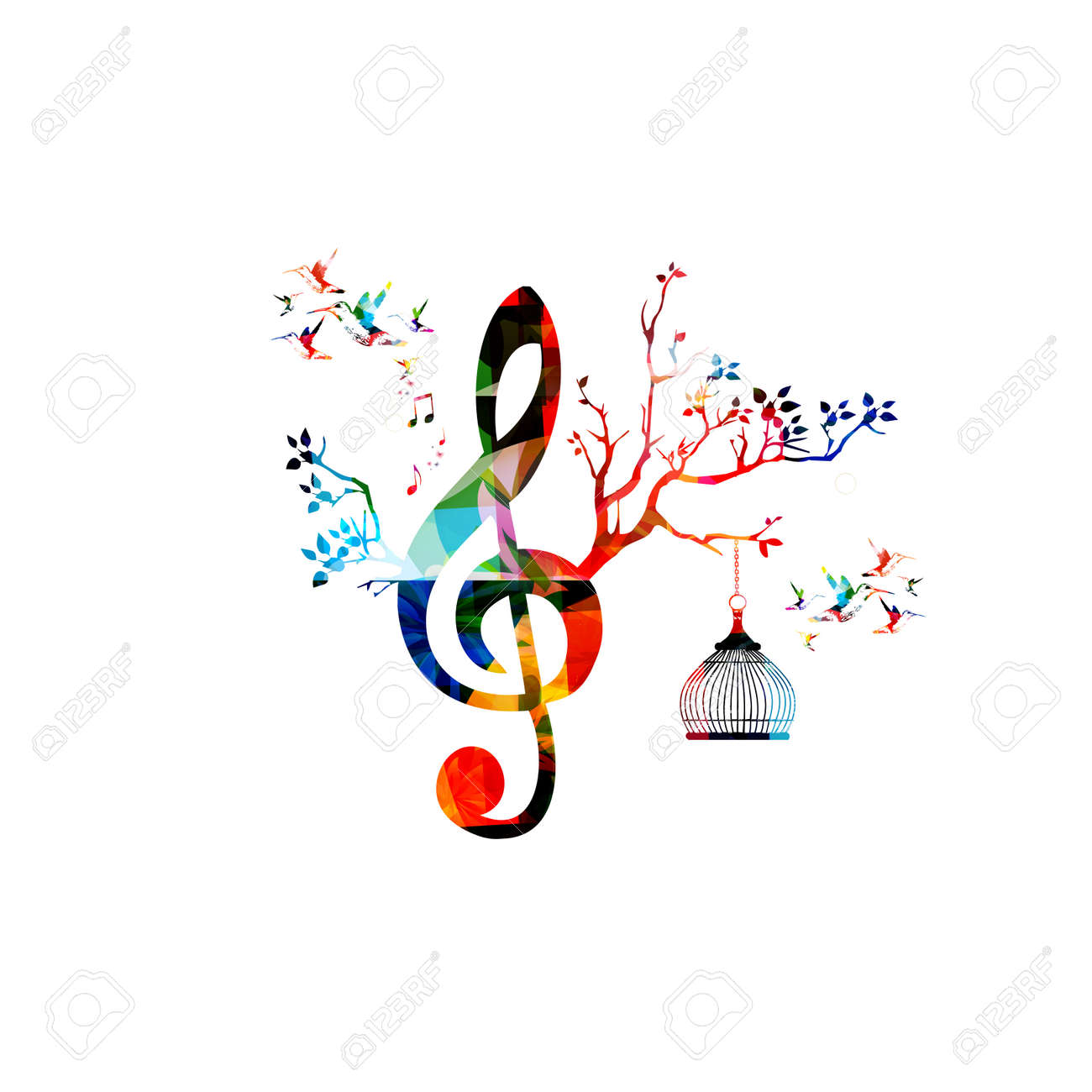 Creative music template vector illustration, colorful G-clef with music notes, music background. Musical design symbols for poster, brochure, banner, flyer, concert, music festival, music shop design - 64461922