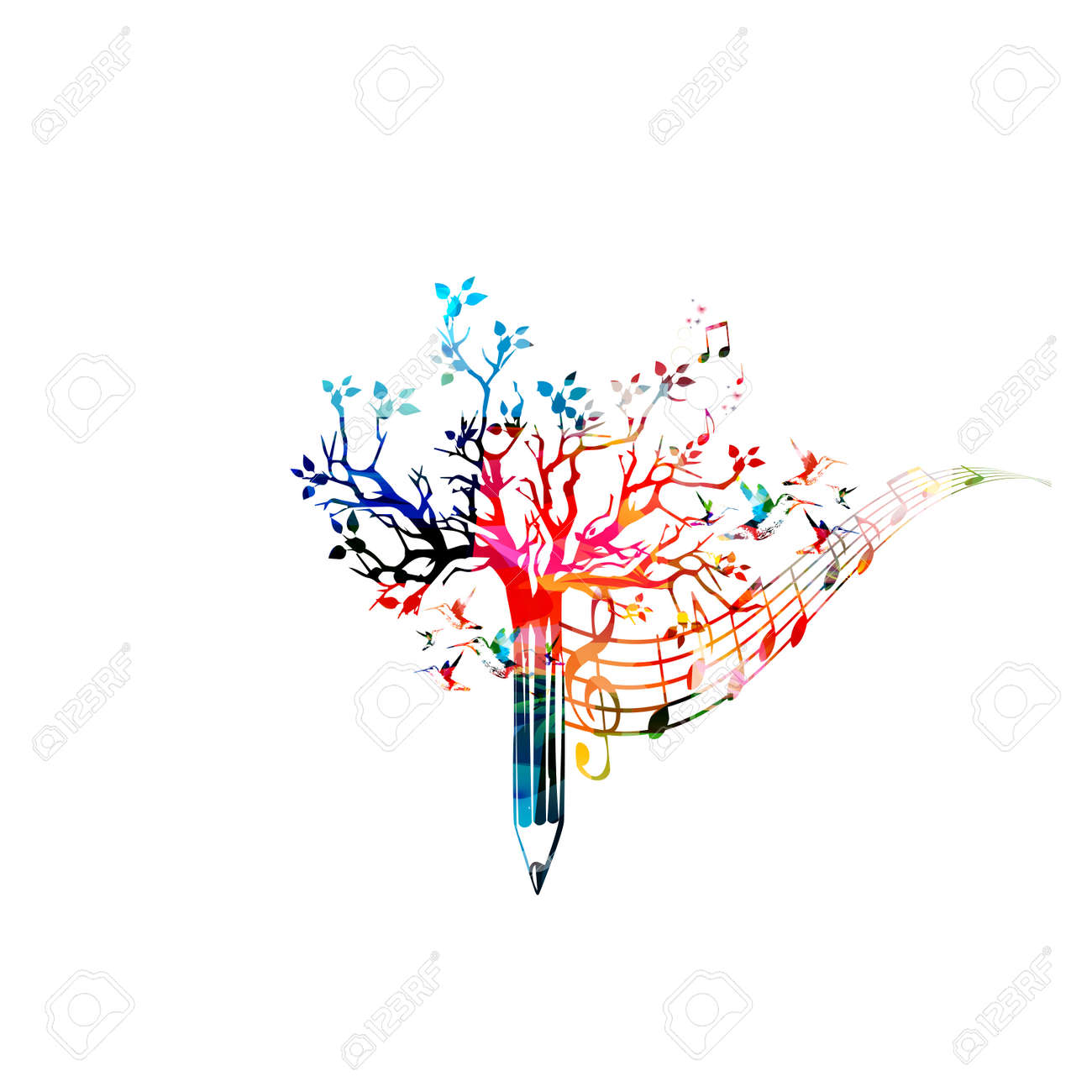 Colorful pencil tree vector illustration with music notes. Design for creative writing, storytelling, blogging, education, book cover, article and website content writing, copywriting, composing music - 64461944