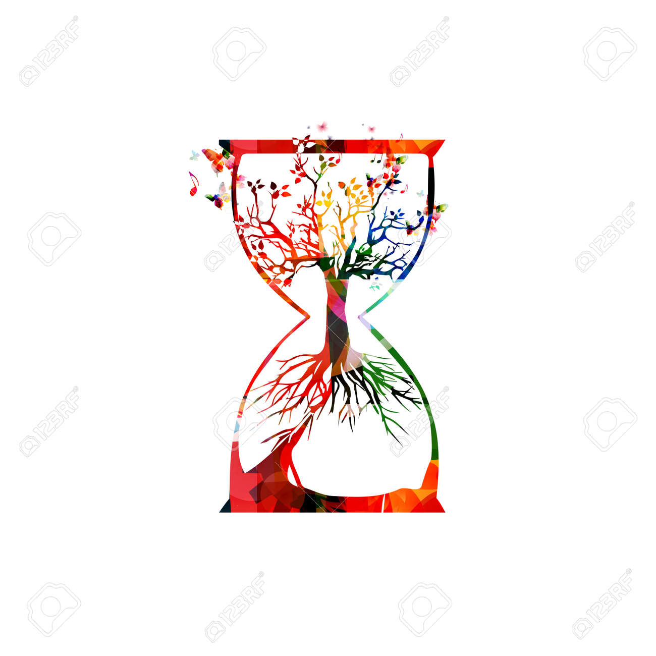 Colorful tree inside hourglass vector illustration. Design for ecology awareness, eco sustainability, plants preservation, nature protection, saving biodiversity, environmentally friendly concept - 67214066
