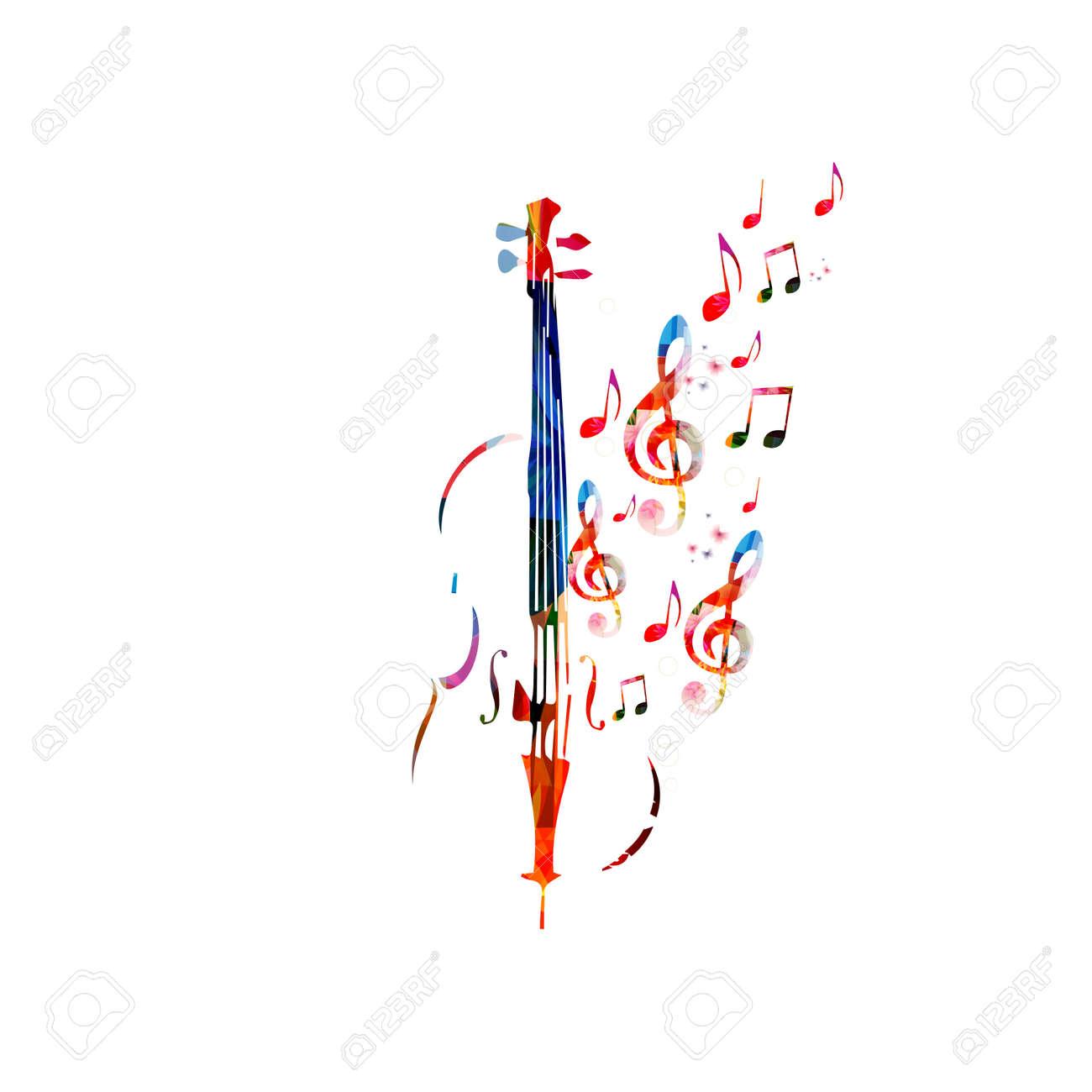 Violoncello Colorida Con Las Notas Musicales Fondo De La Música