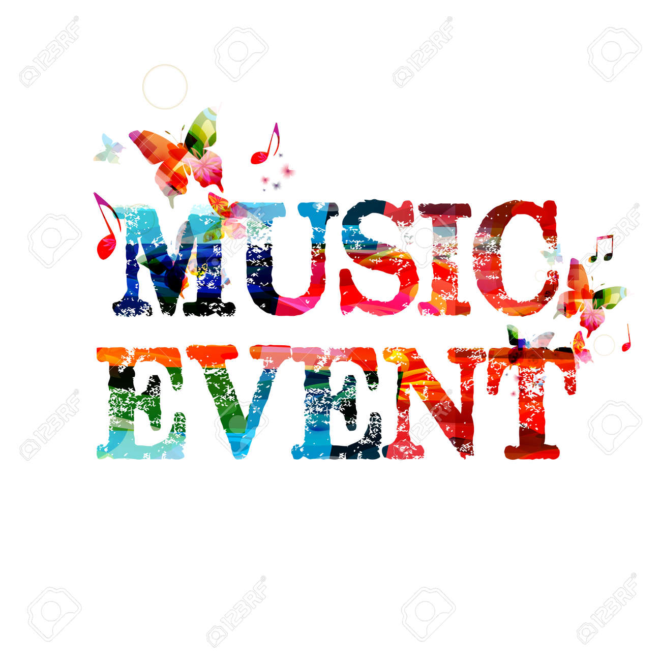 Colorful Typographic Music Background Music Event Poster Design