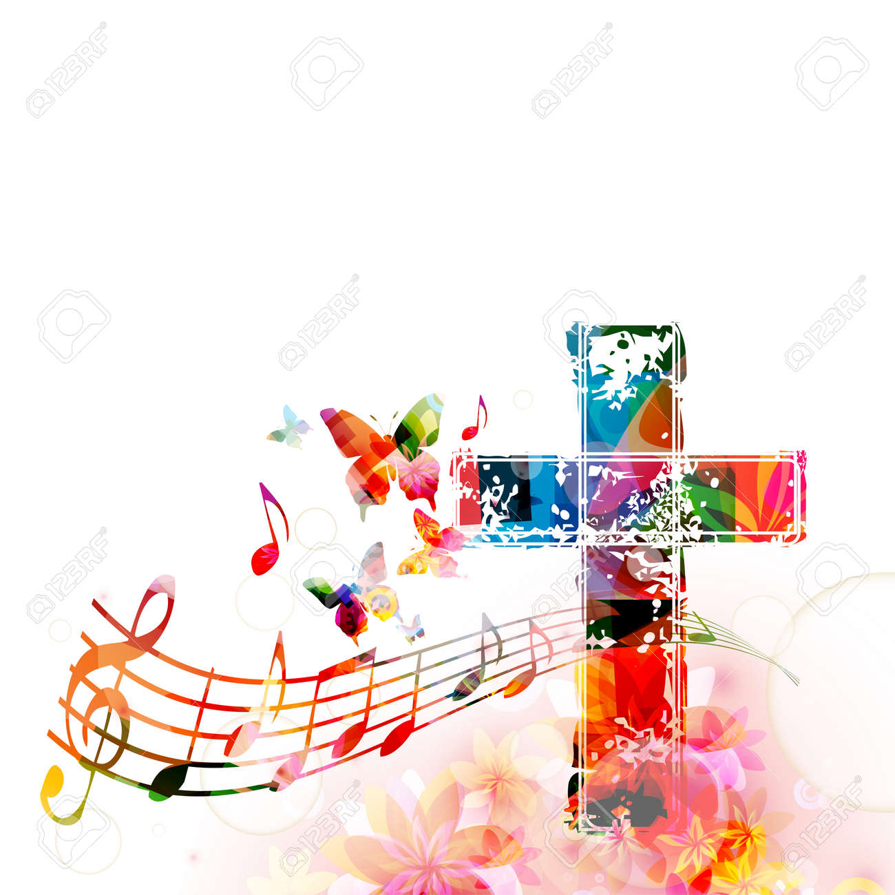 Colorful christian cross with music staff and notes isolated vector illustration. Religion themed background. Design for gospel church music, concert, choir singing, Christianity, prayer - 70027508