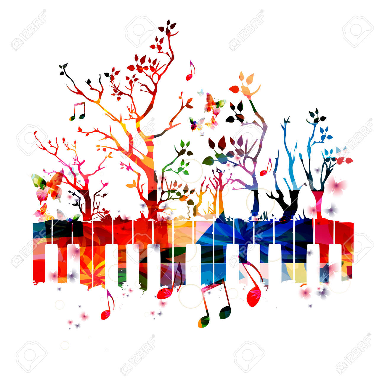 colorful piano keyboard with trees and music notes royalty free rh 123rf com Music Notes and Piano Keys Music Notes Border