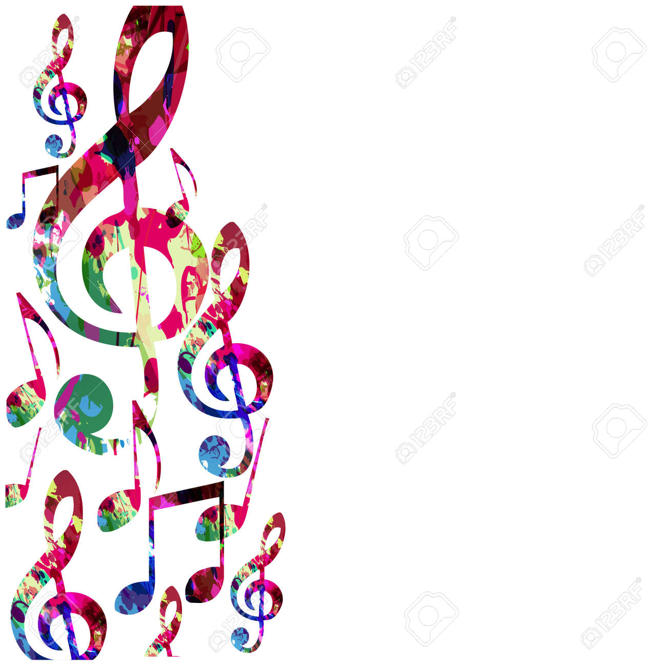 Colorful Music Notes Isolated Vector Illustration Music Background
