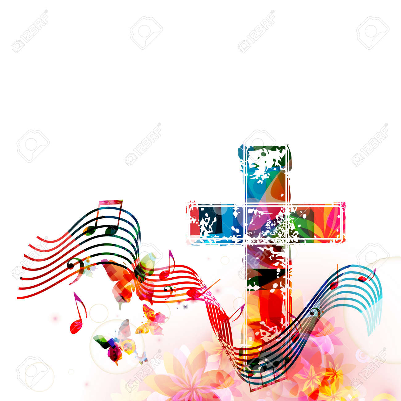colorful christian cross with stave and music notes isolated rh 123rf com Music Note Icon Music Note Clip Art