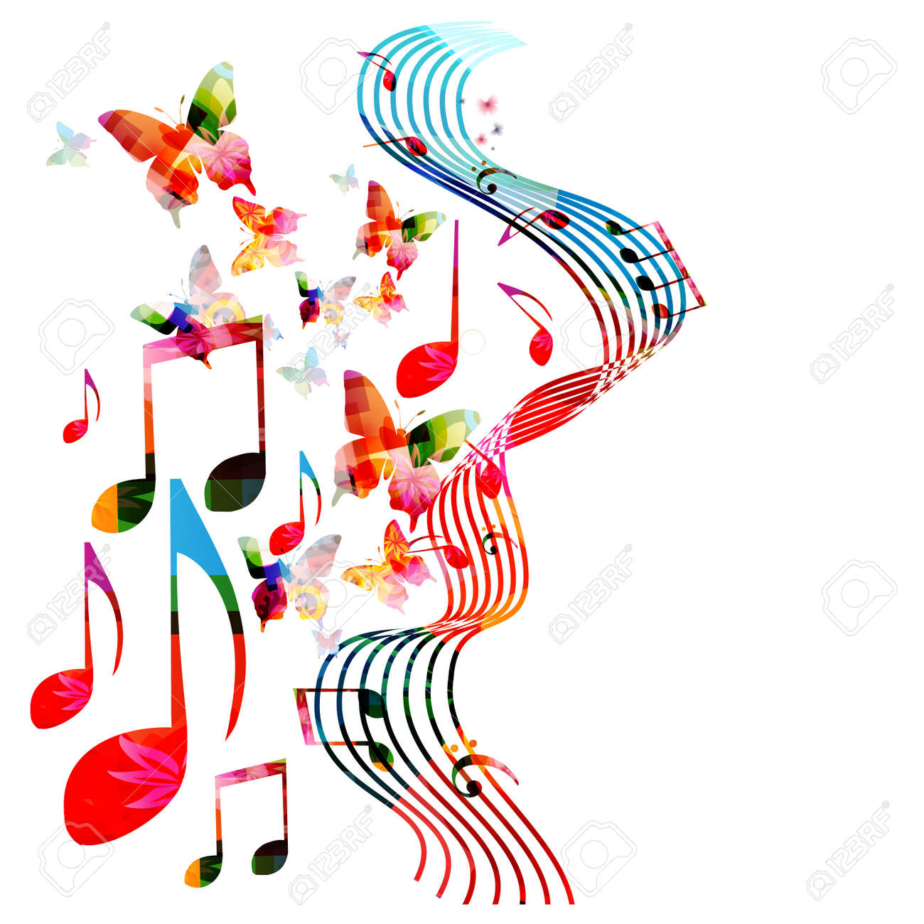 colorful stave with music notes and butterflies isolated vector rh 123rf com Music Note Background Designs music notes vector background