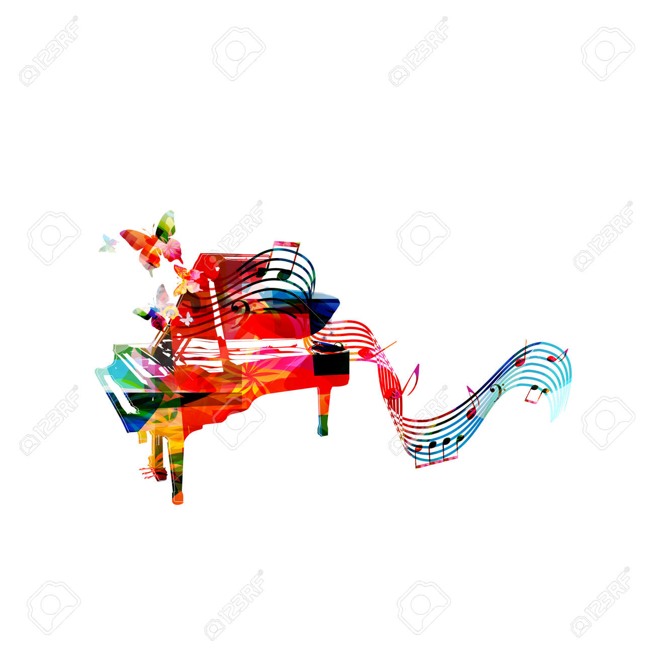 colorful piano with music notes and butterflies isolated vector rh 123rf com Music Notes Music Notes Symbols