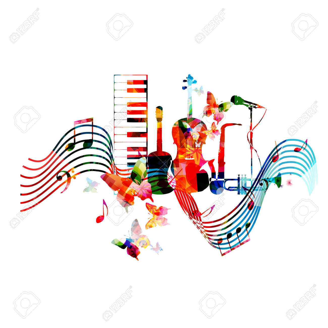 Colorful music instruments with music notes and butterflies colorful music instruments with music notes and butterflies isolated vector illustration music background piano buycottarizona