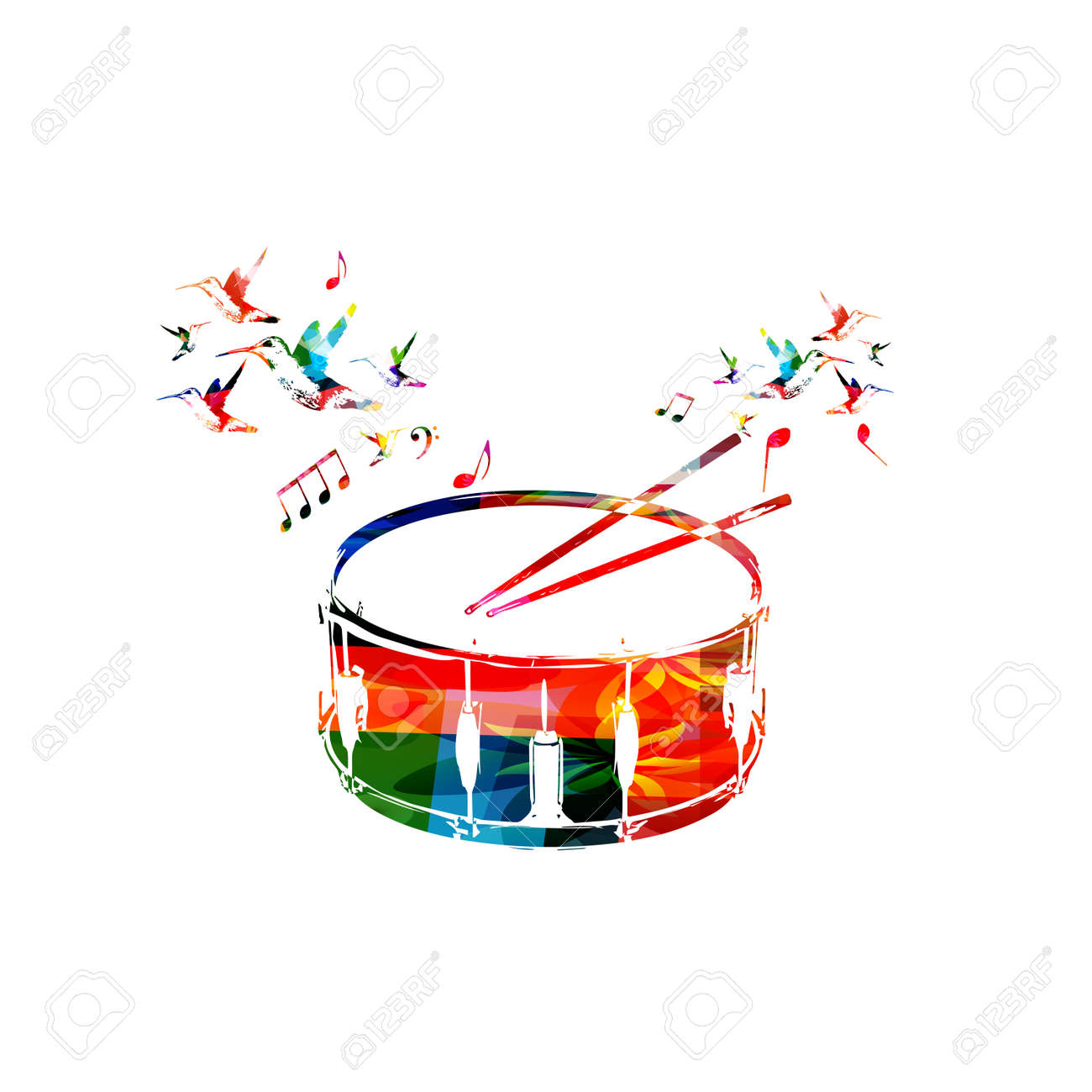 Colorful Drum With Music Notes And Hummingbirds Isolated Vector Illustration Instrument Background For Poster