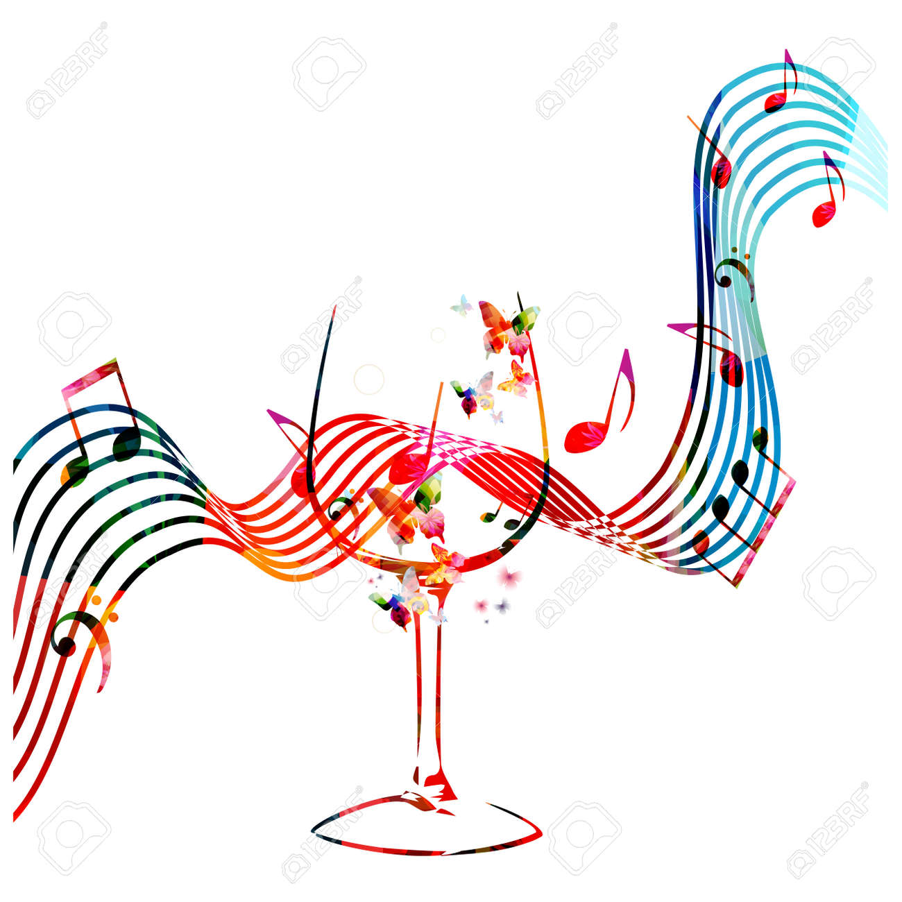 Colorful wineglass with music notes isolated vector illustration. Background for restaurant poster, restaurant menu, music events and festivals - 78070268