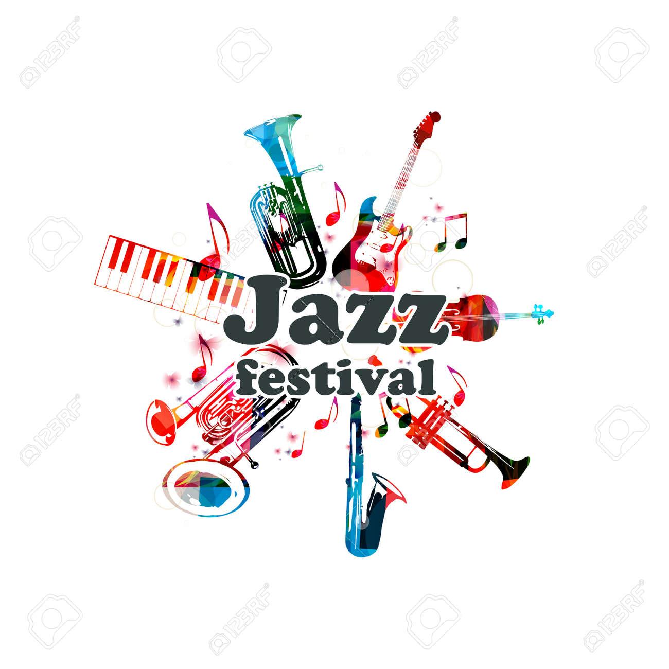 Cartel De Música Para El Festival De Jazz Con Instrumentos Musicales ...