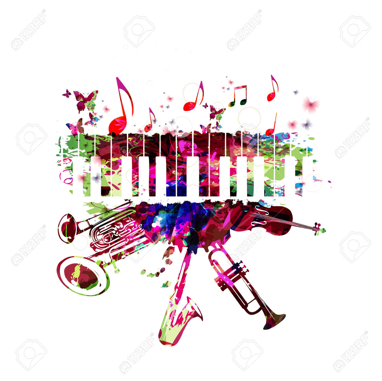Music poster with music instruments. Colorful piano keyboard, double bell euphonium, saxophone, trumpet, violoncello and guitar with music notes isolated vector illustration design - 81228042