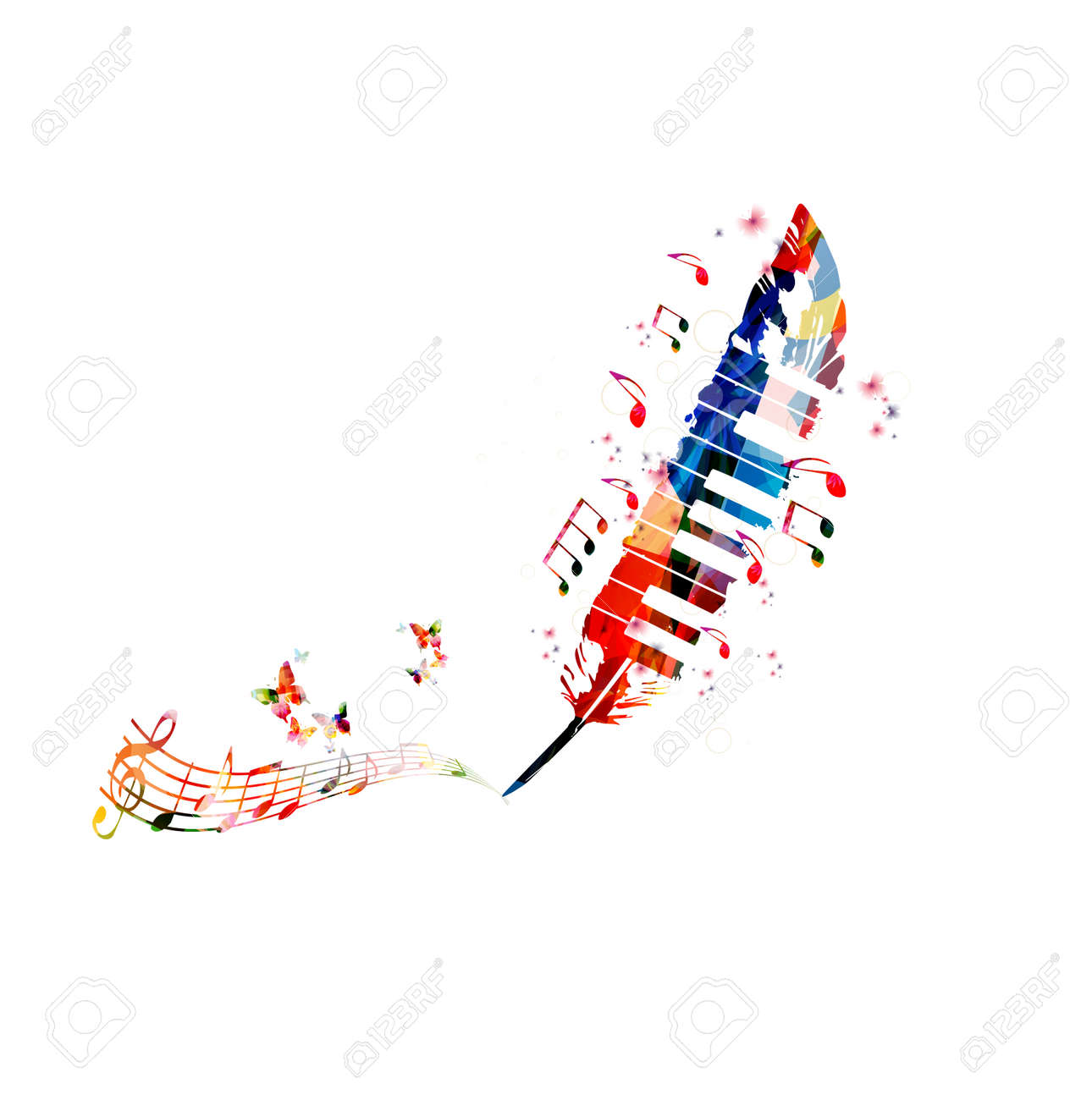 Music Poster For Composing Colorful Notes With Piano Keys And Feather Isolated Vector Illustration
