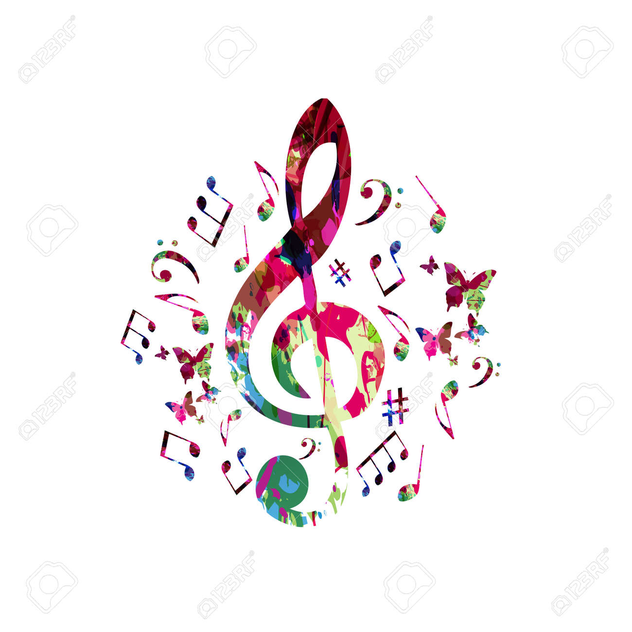 Music Poster With Music Notes. Colorful G-clef With Music Notes ...