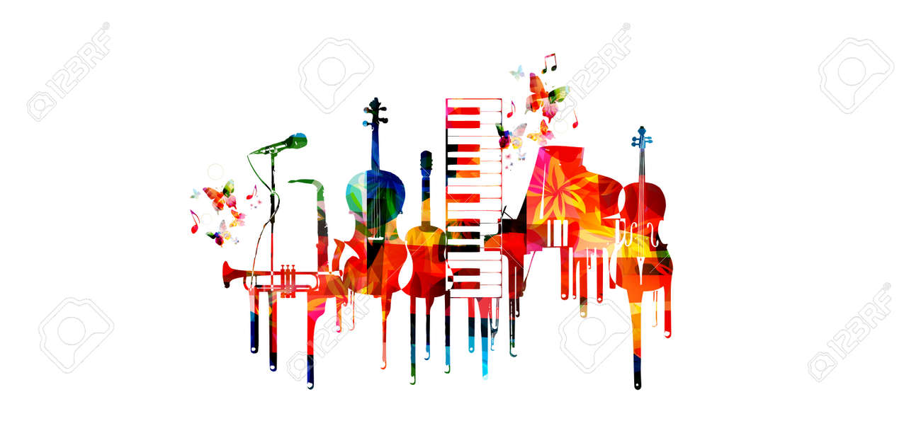 Music poster with music instruments. Colorful piano keyboard, saxophone, trumpet, violoncello, contrabass, guitar and microphone with music notes isolated vector illustration design - 84230815