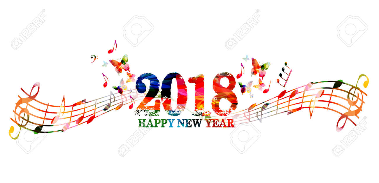 happy new year 2018 colorful lettering template design background vector illustration with music notes stock