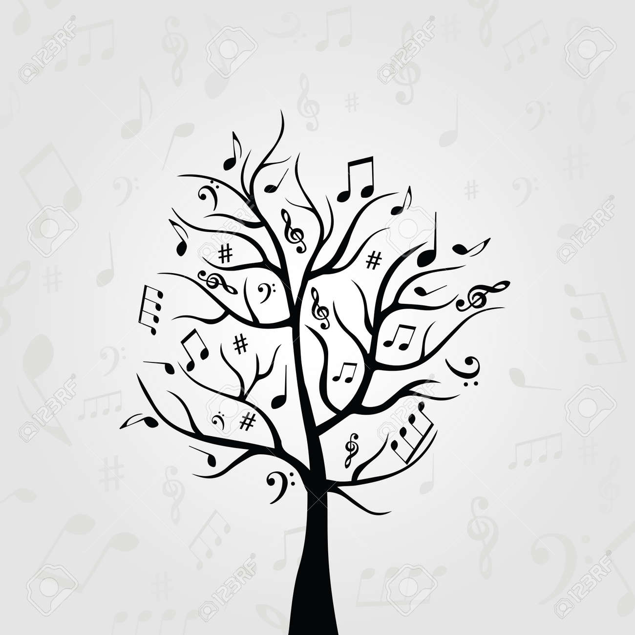Black And White Music Tree With Music Notes Music Symbols For Royalty Free Cliparts Vectors And Stock Illustration Image 88000161