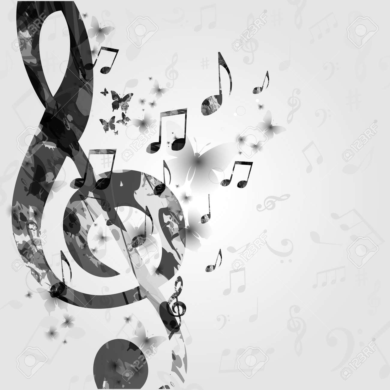 Black and white music poster with music notes music elements design for card poster