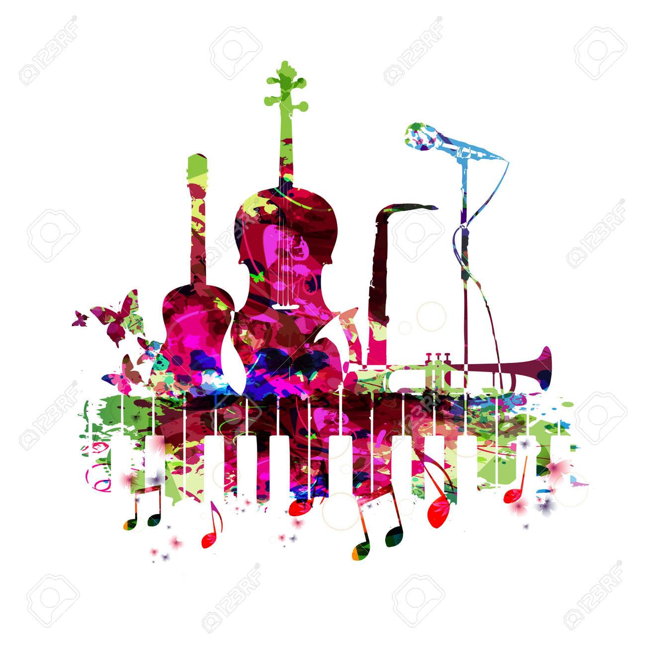 Affiche De Musique Avec Des Instruments De Musique Vector Illustration Fond De Musique Colorée Avec Clavier De Piano Guitare Violoncelle