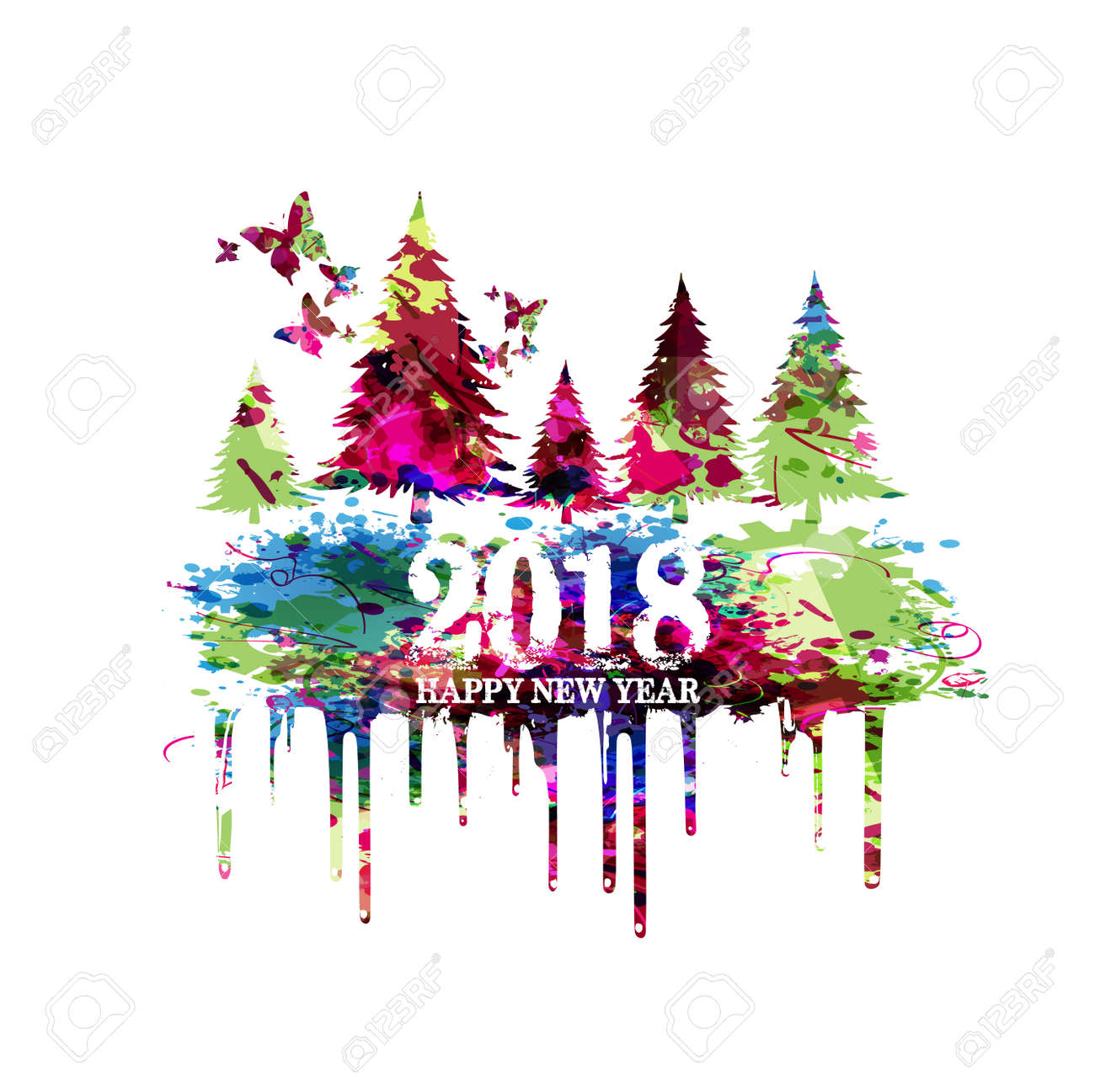 Colorful Christmas Tree Vector.Christmas Trees Vector Illustration Happy New Year 2018 Colorful