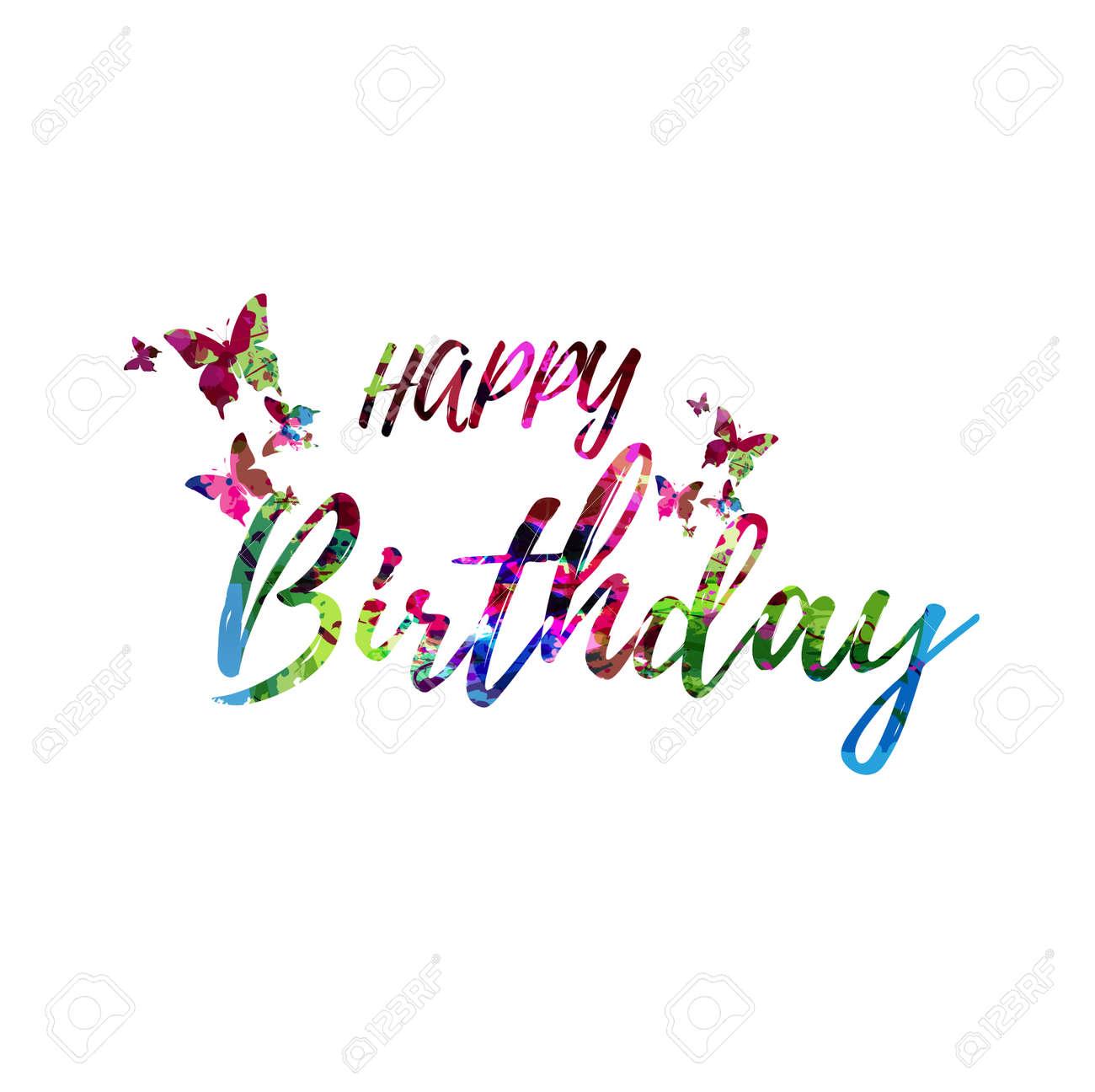 お誕生日おめでとうカラフルな手書きの碑文孤立 ハッピーバースデー書道ベクトルイラスト ハッピーバースデーフレーズレタリングのイラスト素材 ベクタ Image