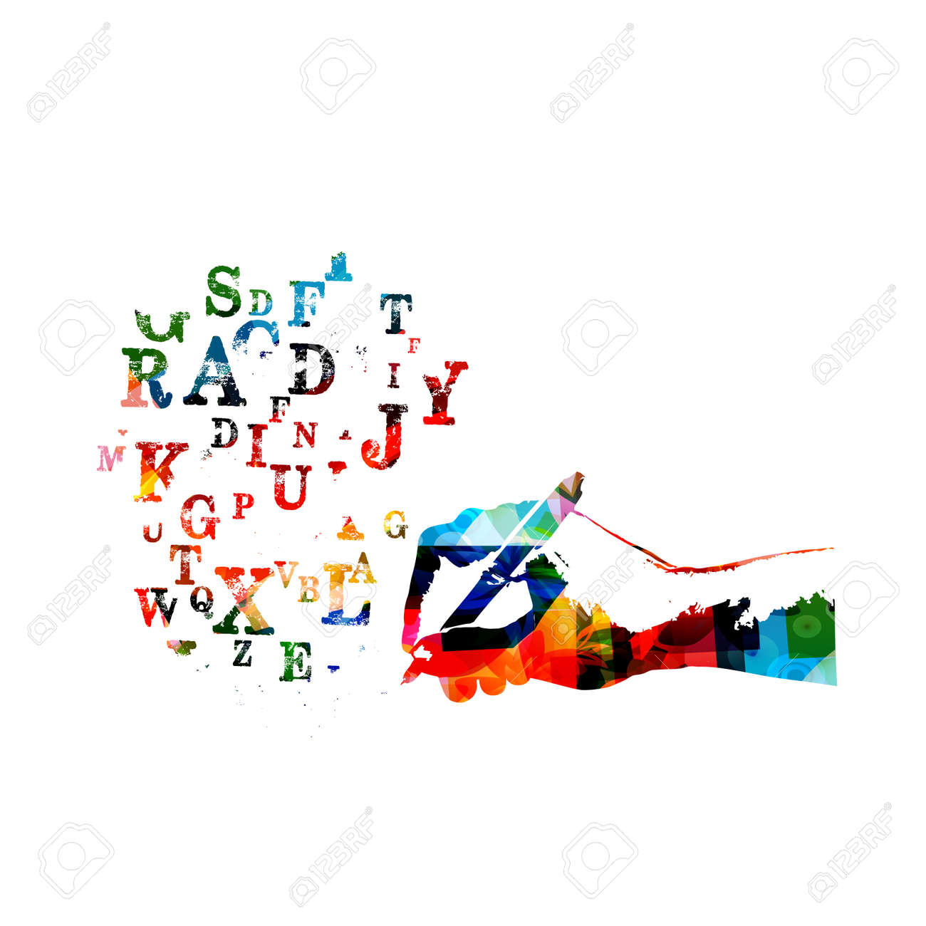 Colorful alphabet letters with pencil isolated vector illustration, creative writing, education background. - 93719447