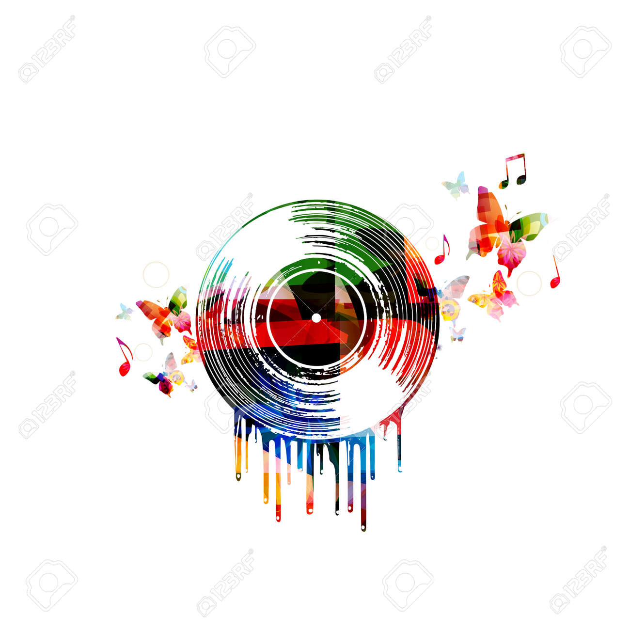 colorful music poster with vinyl record and music notes music rh 123rf com Single Music Notes Music Notes Graphics