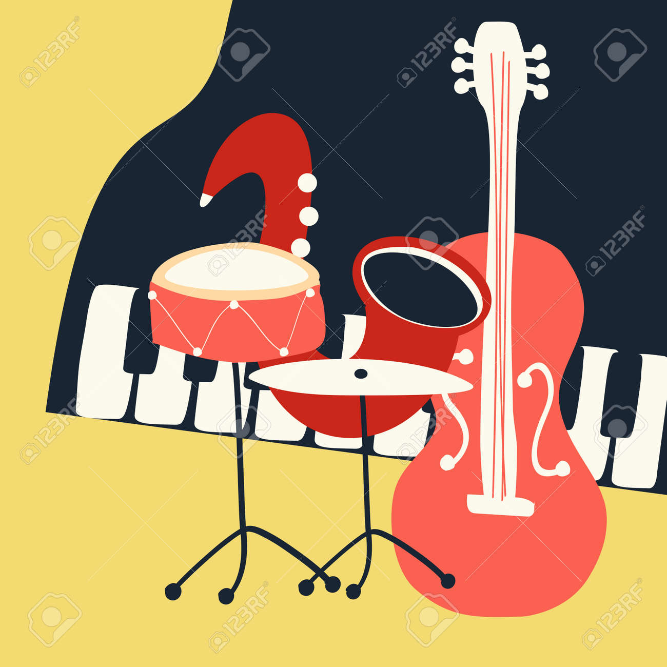 Jazz music festival poster with music instruments  Saxophone,