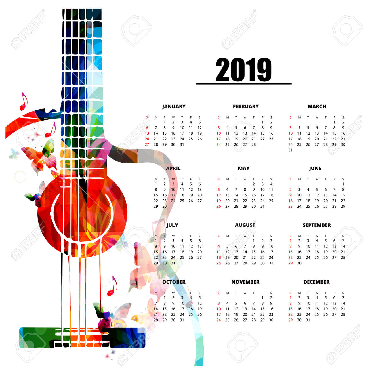 Music Calendar 2019 Calendar Planner 2019 Template With Colorful Guitar. Music Themed