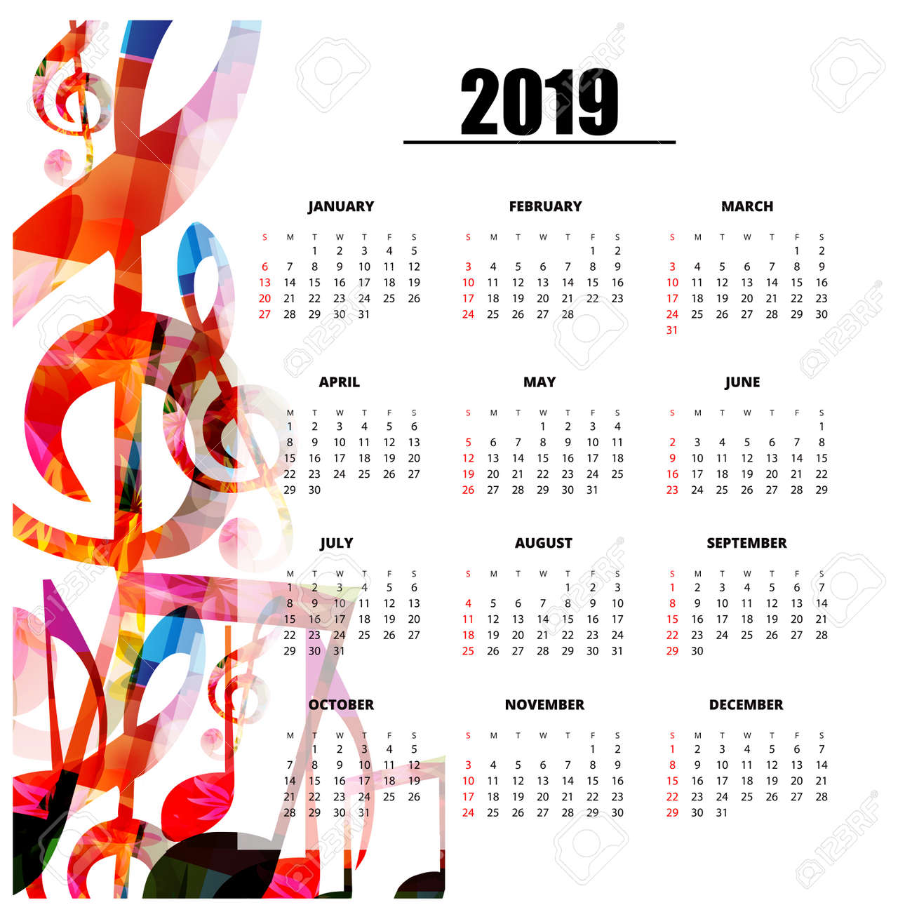 Music Calendar 2019 Calendar Planner 2019 Template With Colorful Music Notes. Music