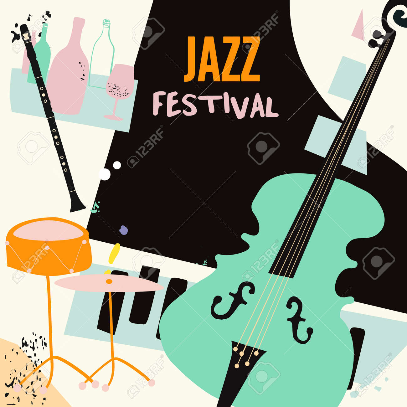Jazz music and wine colorful background flat vector illustration