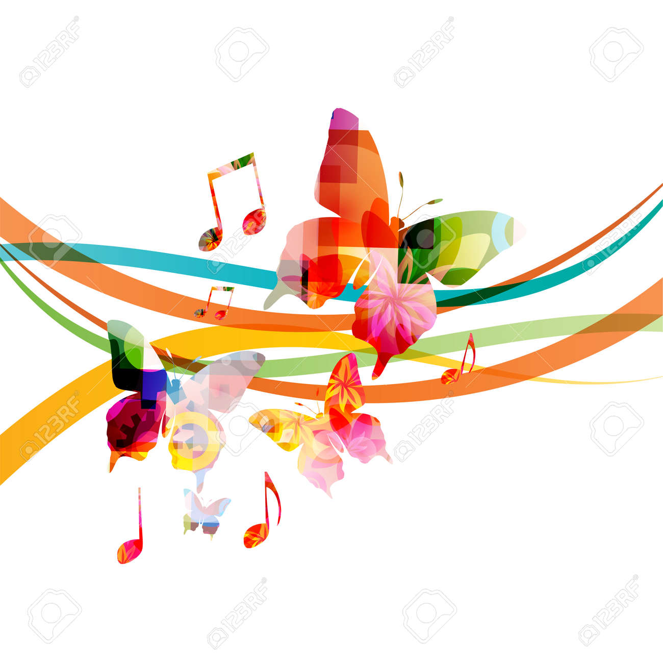 Music background with colorful music notes and butterflies vector illustration design. Artistic music festival poster, live concert events, music notes signs and symbols - 115451257