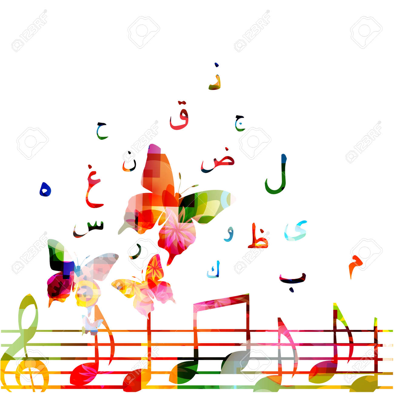 Music with colorful music notes and Arabic Islamic calligraphy
