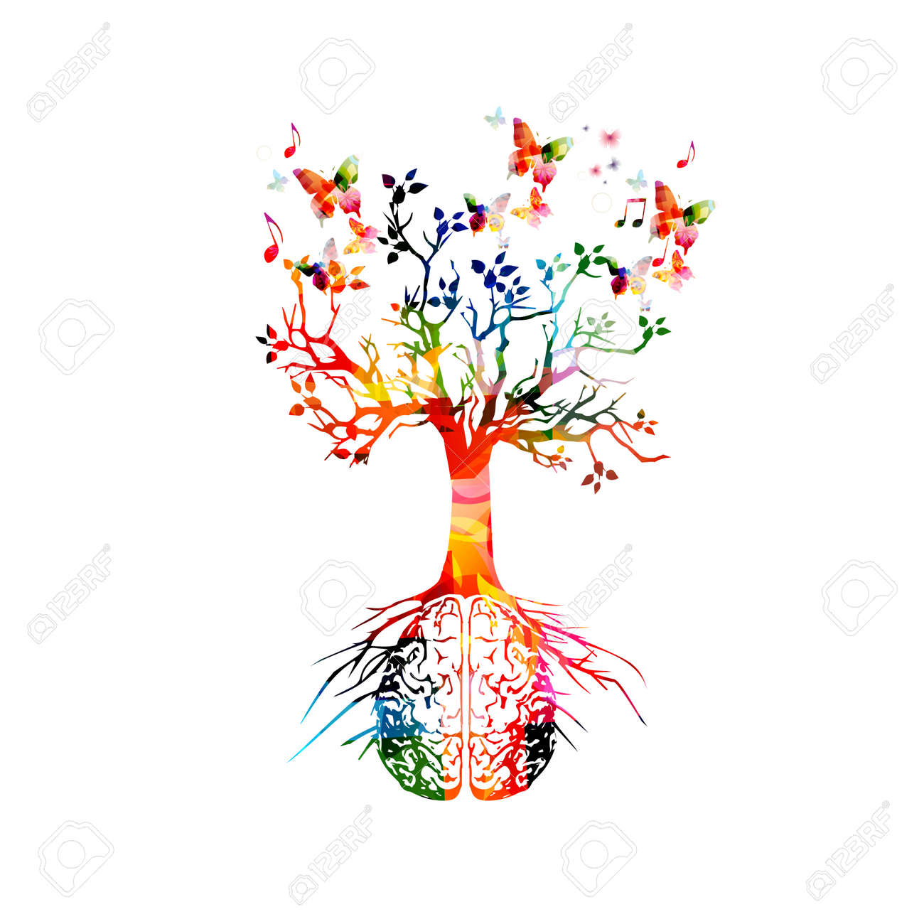 Colorful human brain with growing tree - 124209601