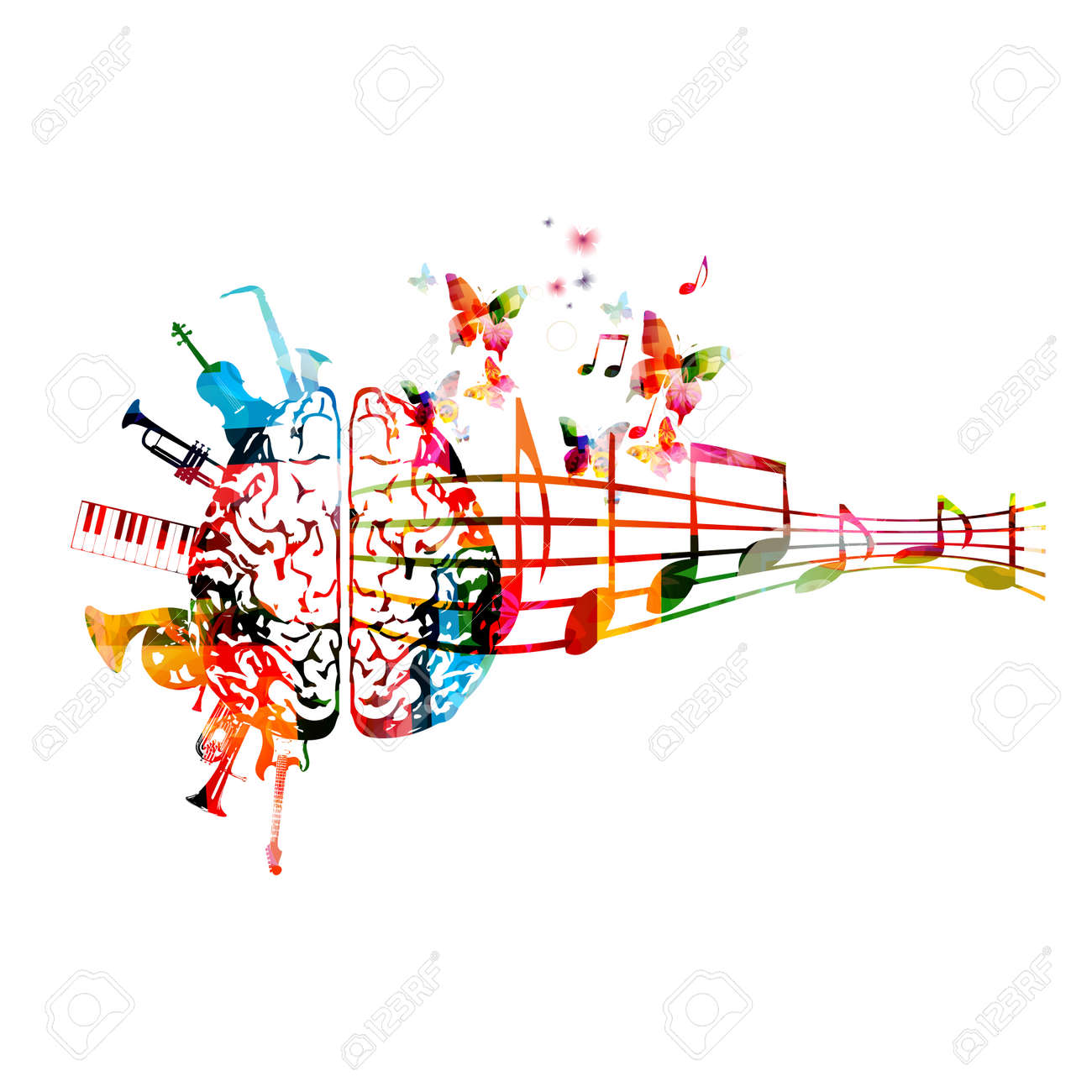 Colorful human brain with music notes and instruments isolated - 124209610