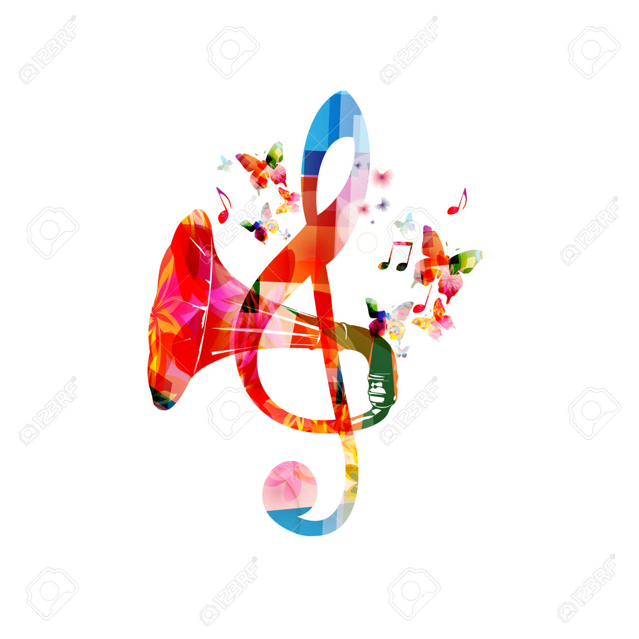 Colorful G-clef with gramophone horn isolated - 126504370