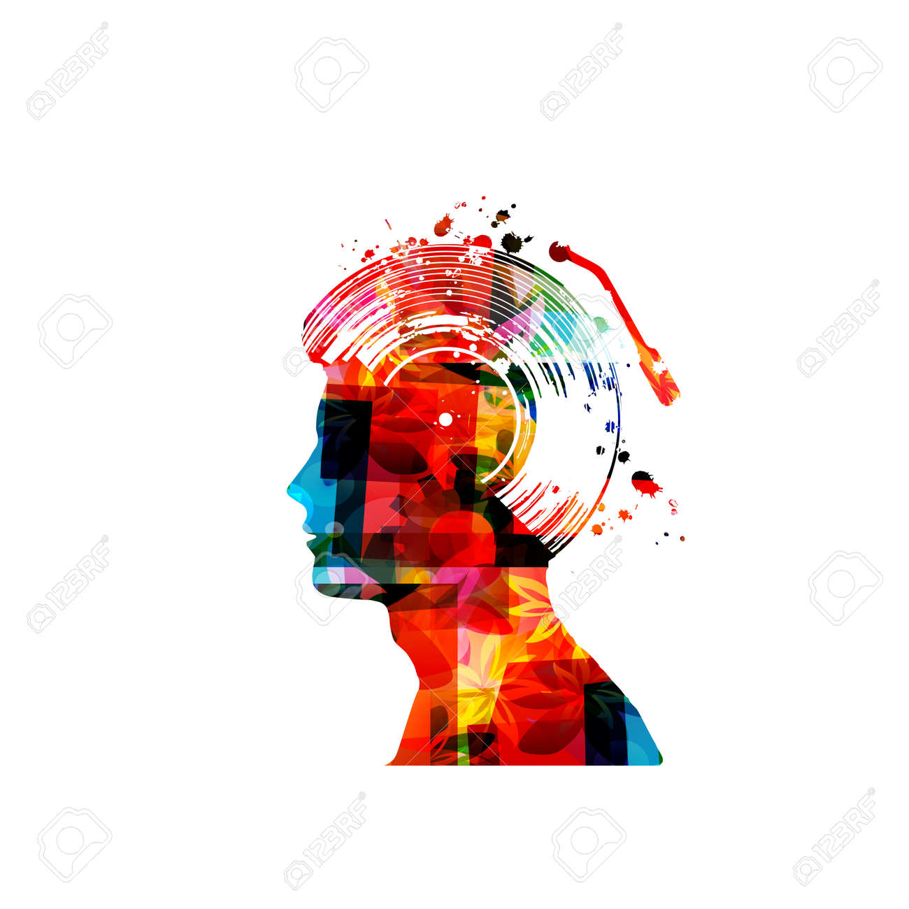 Music with colorful human head and vinyl record disc isolated - 130839734